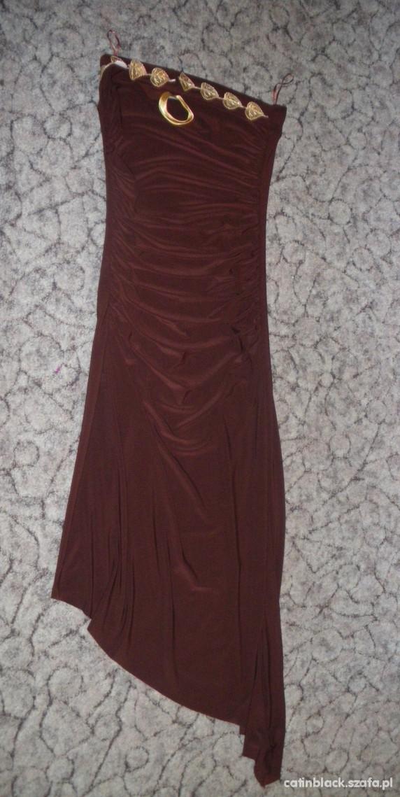 Brązowa asymetryczna sukienka bez ramiączek r36