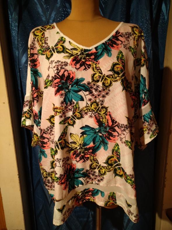 Beżowa bluzka we wzory Kwiaty i motyle Next Rozmiar 56...