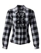 bluzka z żabotem w szaro czarną kratę