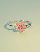 Nowy srebrny pierścionek srebro 925 różowy kwiat kwiatek celebr...