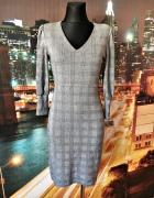 mango sukienka midi ołówkowa modna kratka hit blog 34 XS...