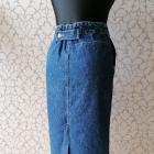 Jeansowa spódnica midi regulacja rozcięcie vintage retro Papercorn XS S