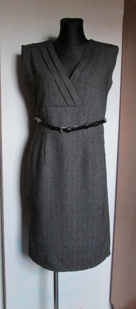 NOWA elegancka grafitowa sukienka z carnym paskiem...
