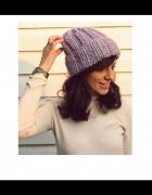 Fioletowa czapka handmade z wełną...