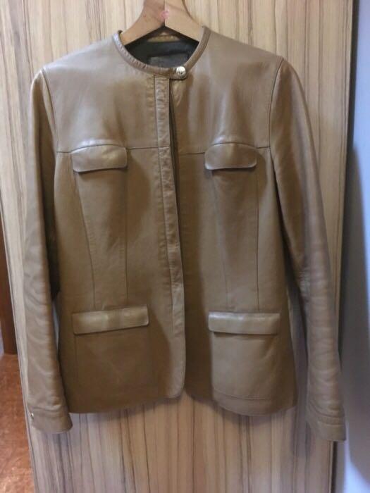 Skórzana kurtka Prada skóra brązowa