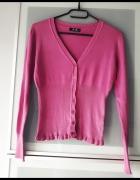 różowy sweterek z falbanką rozmiar S...
