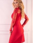 Elegancka czerowna sukienka rękaw koronka S M L XL...