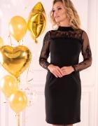 Elegancka CZARNA sukienka rękaw koronka S M L XL...