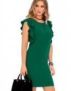 Sukienka falbankowy rękaw S M L XL XXL 42 44 Kolory zielona...