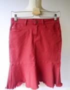 Spódniczka Czerwona S 36 Dzinsowa Object Falbanka Jeans...