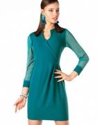 Wiosenna sykienka TURKUSOWA szyfonowe rękawki S M L XL XXL...