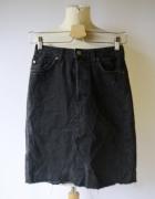 Spódniczka H&M Dżinsowa Szara XS 34 Dziury Postrzępiona Jeansow...