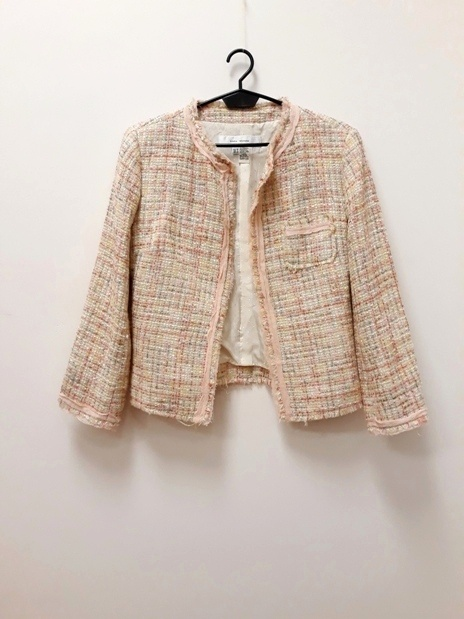 Zara Woman żakiet chanelka tweed róż beż 38...