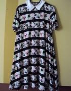 trapezowa sukienka z kołnierzykiem...