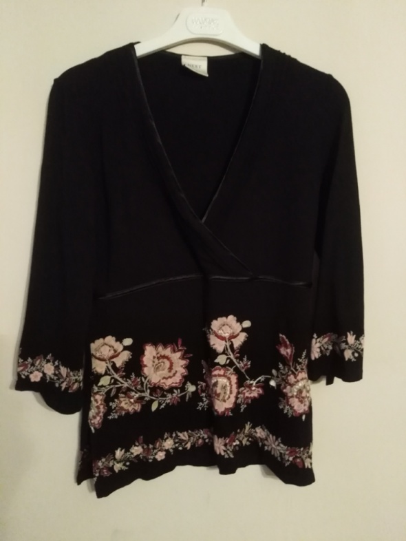 Next 40 L czarna bluzka elegancka w kwiaty haft wizytowa...