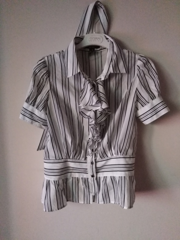 Mango suit 40 L bluzka koszula damska paski czarna biała falbany