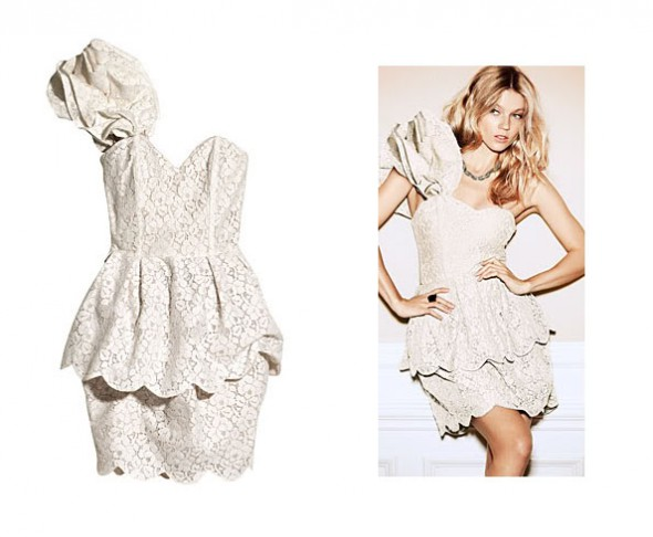Suknie i sukienki H&M SUKIENKA NUDE PUDROWA KORONKOWA GORSETOWA