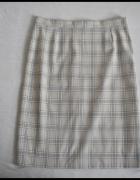 Beżowa spódnica ołówkowa w kratkę 42 XL stan bdb...