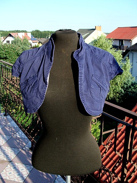 Bolerka Granatowe bolerko jeansowe Orsay kieszenie eleganckie