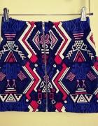 Spódnica mini dopasowana aztecki wzór zamek zip H&M S...