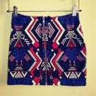 Spódnica mini dopasowana aztecki wzór zamek zip H&M S