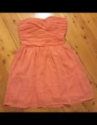 Sukienka morelowa brzoskwiniowa pomarańczowa bez ramiączek 34 X...