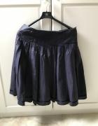 Granatowa spódnica rozkloszowana z podszewką...