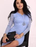 Koronkowa sukienka niebieska S M L XL KOLORY...