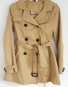 Płaszcz wiosenny jesienny trencz H&M 38 M kaptur beżowy kamel b...