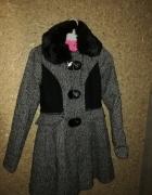 Betsey Johnson Szary rozkloszowany płaszcz 36...