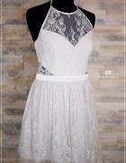 Sukienka biała krótka Adriana Lipsy koronkowa nowa 42