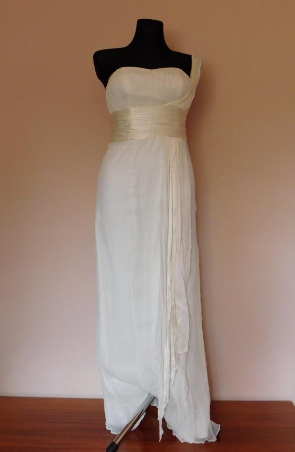 Suknie i sukienki Monsoon suknia ecru jedwab 38