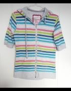 Sportowa bluza Forever Pink XL 42 kolorwa pasy paski szara kapt...