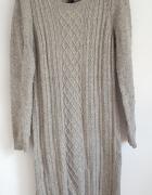 Szara wełniana sukienka H&M 38 M wełna sweterkowa jak sweter mini