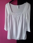 Biała bluzeczka z koronką H&M...