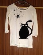 Terranowa Bluzka z kotkiem biała czarny czarne S M...