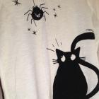 Terranowa Bluzka z kotkiem biała czarny czarne S M
