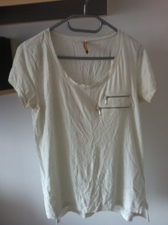 T-shirt Bluzka Moodo biała zamki nakrapiana M 38 36 S 40