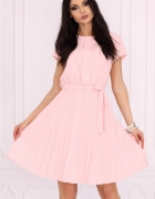 Klasyczna sukienka dół plisowany S M L XL XXL jasny róż...