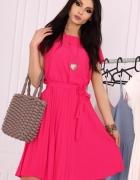 Klasyczna sukienka dół plisowany S M L XL XXL różowa...