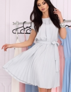 Klasyczna sukienka dół plisowany S M L XL XXL jasny szary...