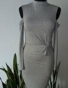 Szara sukienka bez ramion...