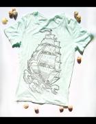Miętowa koszulka L żeglarska koszulka rozmiar L...