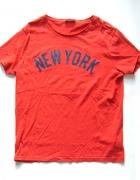 Tshirt czerwony z napisem NEW YORK koszulka XL...