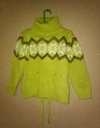 Zielony gruby sweter golf zimowy 128 cm...