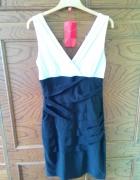 Czarna biała sukienka wesele studniówka...
