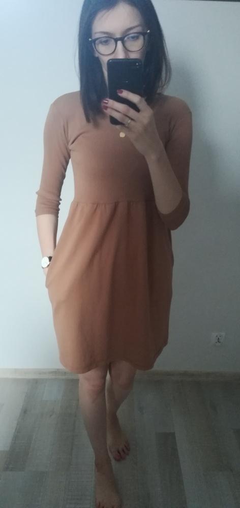 Suknie i sukienki Karmelowa sukienka rozmiar uniwersalny