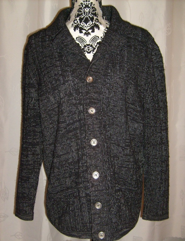 Nowy męski sweter kardigan na guziki melanżowy...