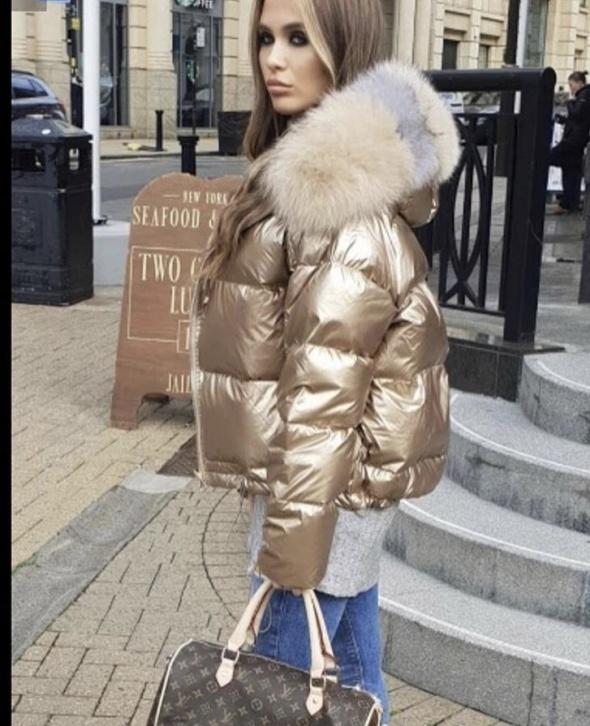 Odzież wierzchnia Dwustronna złoto srebrna kurtka puchowa futro lisa L XL
