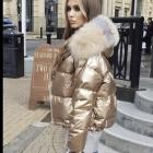 Dwustronna złoto srebrna kurtka puchowa futro lisa L XL